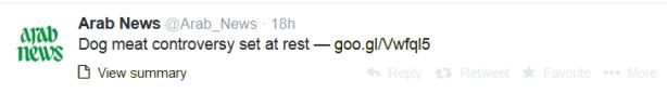 Arab News tweet re dog meat