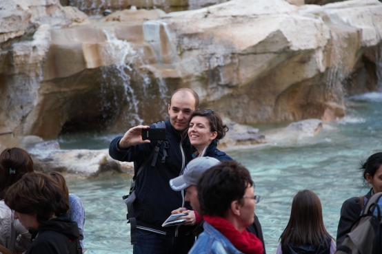 Couple selfie at Trevi Fountain