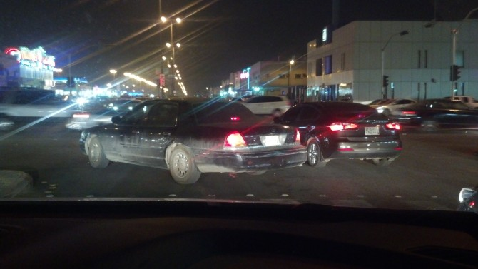 Riyadh intersection at night