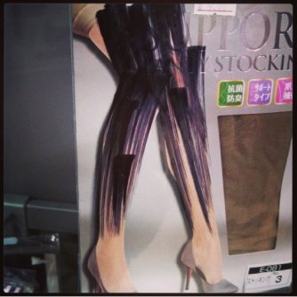 Ladies' stockings package with legs scribbled out