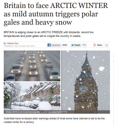 Daily Express headline: Winter 2014 forecast