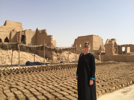 New mud bricks drying in the sun, Saudi Arabia