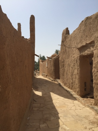 Narrow village lane at Raudat Sudair, Saudi Arabia