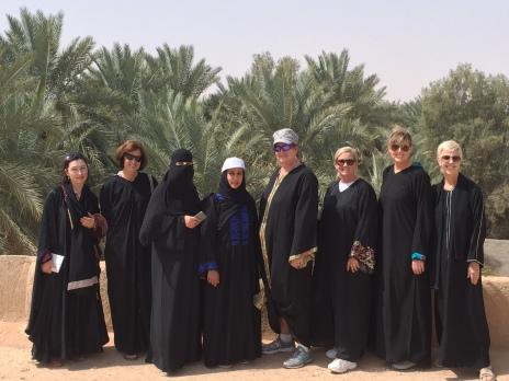 Tour group on a roof, Saudi Arabia