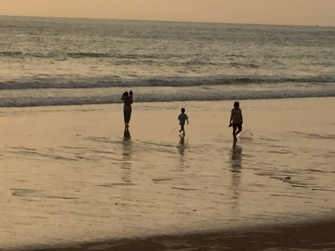Family at sunset, Khao Lak, Thailand