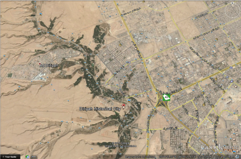 Wadi Hanifa on Google Earth, beside Riyadh