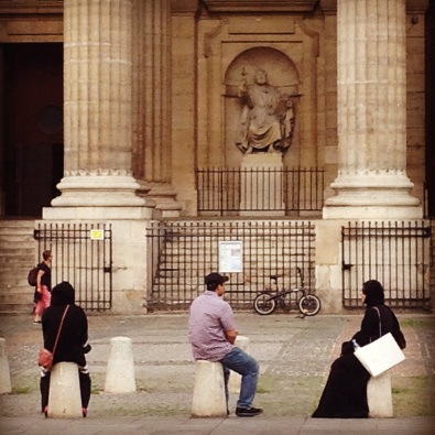 Muslim travelers at Saint Sulpice, Paris