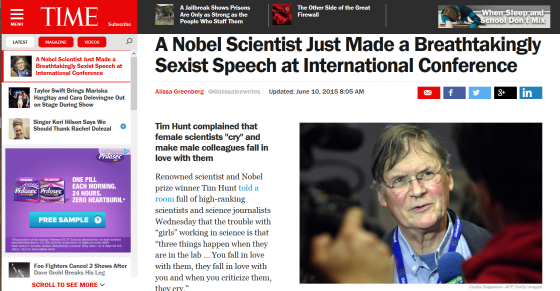 Time Magazine on Tim Hunt's sexist gaffe