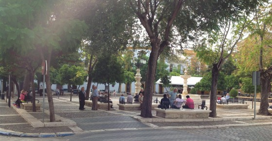 Morning on the plaza, Osuna, Spain