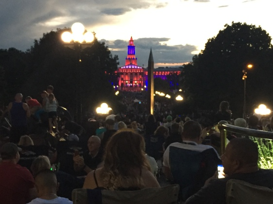 Crowds at Denver's Civic Center Park, waiting for fireworks