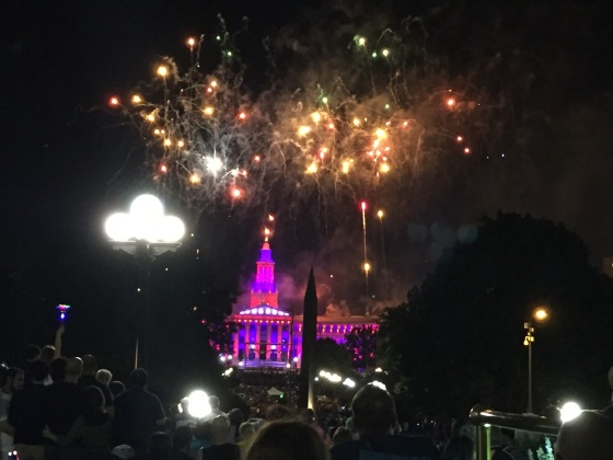 Fireworks over Denver City County Building