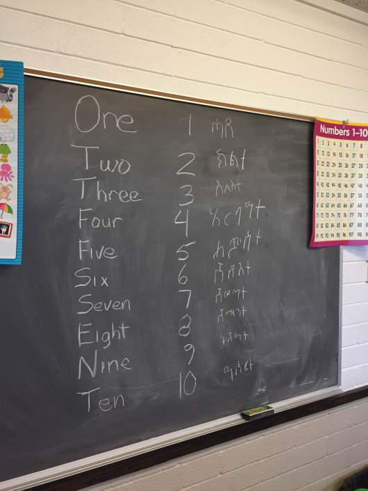 Counting in English and Tigrinya