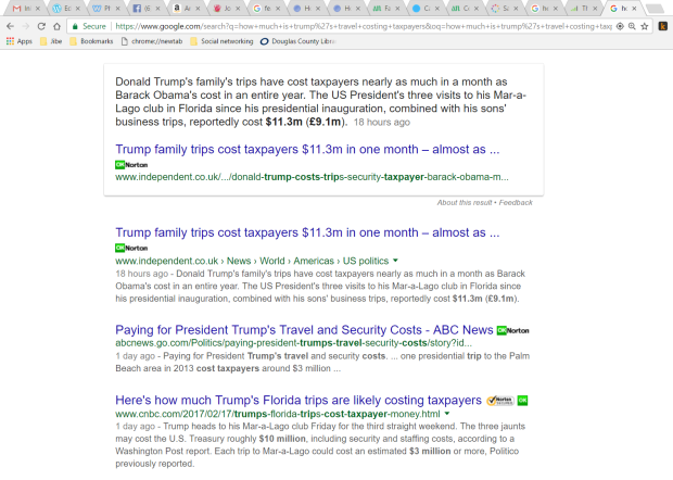 Google search results on cost of Trump travel