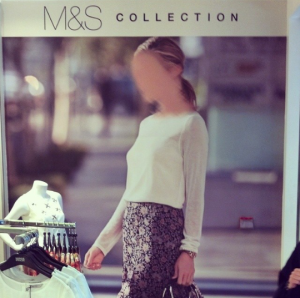 M&S advertisement in Riyadh, with the woman's face obscured
