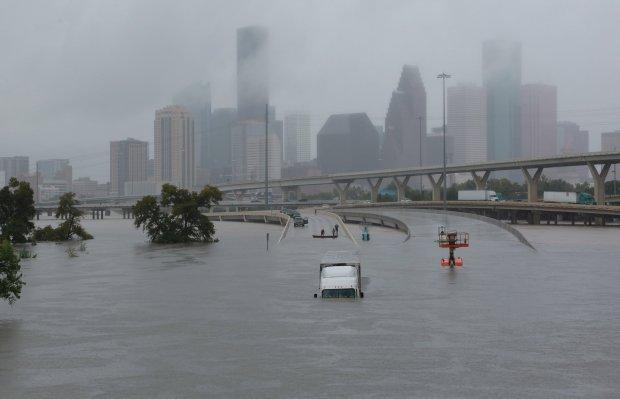 Hurricane Harvey flooding I-45 in Houston